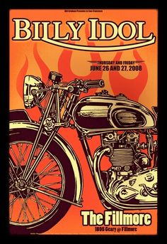 Billy Idol Concert Poster,  Fillmore, San Francisco