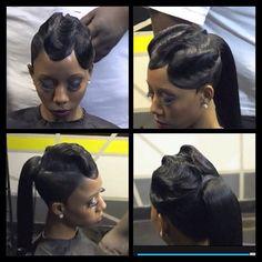 ❥♚ Weave Ponytail, Ponytail Styles, Short Hair Styles, Natural Hair Styles, My Hairstyle, Ponytail Hairstyles, Hair Ponytail, Updos, Wedding Hairstyles