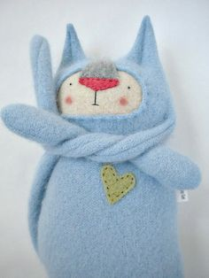 Baby Blue Stuffed Animal Cat Upcycled Sweater by sweetpoppycat