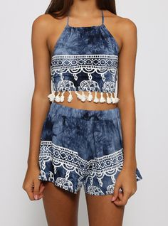 Blue Halter Backless Tassel Top With Shorts -SheIn