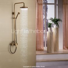 Antique Brass Tub Shower Faucet with 8 inch Shower Head + Hand Shower 237078 2016 – $135.71