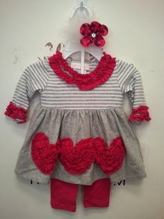 Super cute two piece outfit with pink hearts!