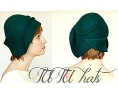 e441f93ef3b66 Cappello stile vintage   donne feltro cappello cloche   Handmade cappello  Gatsby Hat