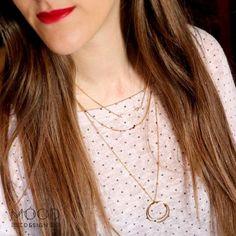 collar aros oro  plata chapada en oro montaje