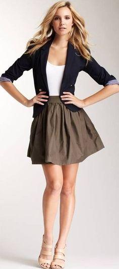 blue blazer beige skirt pretty clothing women apparel @roressclothes fashion outfit style closet ideas summer