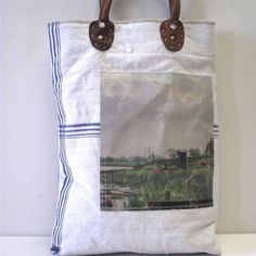 DESCRIPTION  A sea the sea delight SWARM~up cycled canvas painting bag  One of a find handmade bag using vintage oil paintings sourced from markets in hollan...