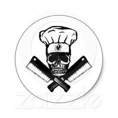 Chef Skull (B) Stickers from Zazzle.com