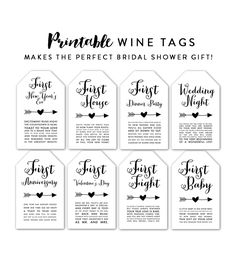 Wine Tags Bridal Shower Gift First Baby, First Anniversary, First Fight Instant . Wine Bottle Tags, Wedding Wine Bottles, Wine Tags, Wine Label, Bridal Shower Gifts For Bride, Bridal Shower Wine, Wedding Gifts, Wedding Stuff, Wedding Ideas