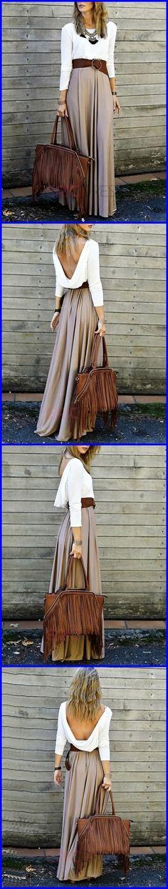 Color Block Patchwok Backless Maxi Dress