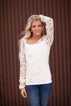 Embroidered Beige Lace Sheer Top-