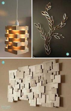 , 10 DIY decor ideas-with-cardboard. , 10 DIY decor ideas-with-cardboard Diy Wand, Diy Design, Crafts For Teens, Diy And Crafts, Mur Diy, Diy Academy, Diy Karton, Carton Diy, Cardboard Crafts