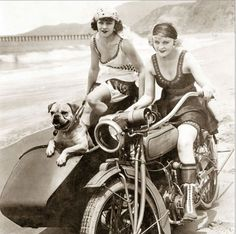 """vintageeveryday: """"Two women with a cute dog on a sidecar, ca. 1930. """""""