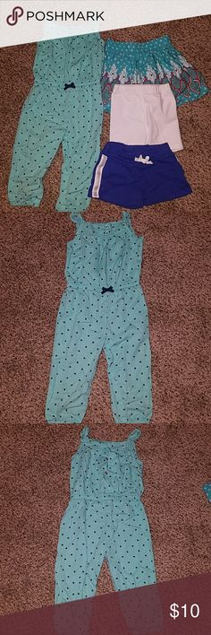18mo girls summer clothes lot EUC baby girls 18 mo lot.  Includes Carters romper, green with navy blue hearts, white wonder kids shorts, blue with sparkle strip Carters shorts, and turquoise, white, and pink Xhilaration skirt. Other