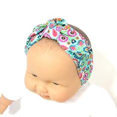 Bandeau bébé turquoise à motifs fleurs et oiseaux, en coton, à nouer, Tricotmuse, plusieurs tailles au choix : Mode Bébé par tricotmuse