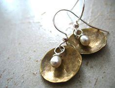Pearl Earrings Freshwater Pearl Dome Earrings by LuminousCreation, $15.00