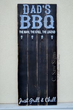 hand painted rustic bbq tool rack | dad's bbq | the man, the grill, the legend | just grill & chill | wood