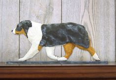 Australian Shepherd Dog Figurine Plaque Display Wall Decoration Blue Merle available at www.DogLoverStore.com