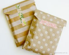kraft paper bags - simple but striking packaging with patterned bag and patterned paper washi tape
