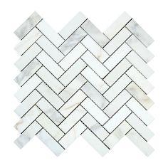 Calacatta Gold Marble Honed 1 x 3 Herringbone Mosaic Tile
