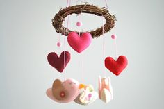 Rustic Birds Mobile, Crib Mobile, Nursery Decor, Home Decor, Baby Mobile in Pink