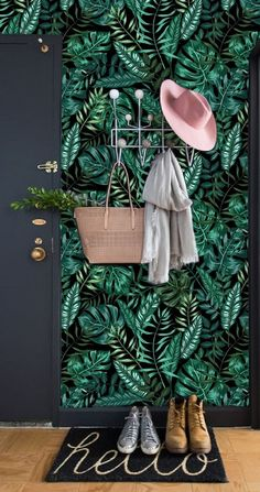 Peel and Stick Wall Paper, Dark Leaf Wallpaper Wall Mural Removable, Wallpaper Peel & Stick Mural, Self Adhesive Wallpaper Temporary selbstklebende Tapete abnehmbare Tapete tropische Wand Wallpaper Wall, Self Adhesive Wallpaper, Grey Wallpaper Decor, Dark Green Wallpaper, Temporary Wallpaper, Modern Wallpaper, Tropical Wallpaper, Botanical Wallpaper, Botanical Decor