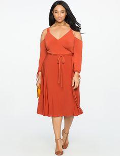 Cold Shoulder Wrap Dress | Women's Plus Size Dresses | ELOQUII