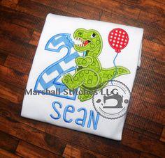 306a0f6295451 Boy s Dinosaur Appique Birthday Shirt