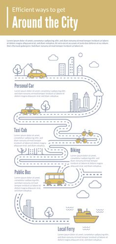 If you find yourself researching and writing about traffic and transportation, you'll find the Transportation Infographic template to be very handy indeed. Help educate travelers in a unique way with this stylish-yet-simple design. Design Logo, Design Poster, Layout Design, Info Graphic Design, Poster Designs, Web Design, Infographic Resume, Infographic Templates, Create Infographics