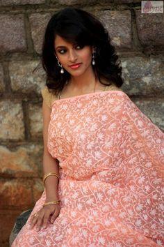 Chikan Saree in Peach