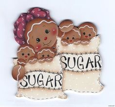 Un solo saco con 2 cookies, lindo! Gingerbread Ornaments, Gingerbread Decorations, Christmas Gingerbread, Christmas Art, Christmas Projects, Christmas Decorations, Christmas Ornaments, Pintura Country, Country Paintings