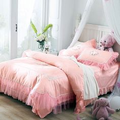 Create a bold statement in the bedroom with the retro shabby chic pink bedding sets. The vintage bohemian shabby chic pink bedding sets feature vogue pattern in soft colors. Coral Bedding Sets, Shabby Chic Bedding Sets, Shabby Chic Bedrooms, Trendy Bedroom, Shabby Chic Furniture, Romantic Bedding, Floral Bedding, Girls Bedroom Sets, Girls Bedding Sets