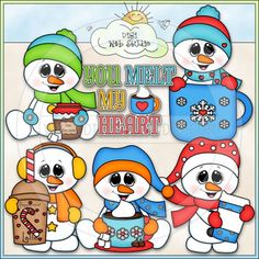 You Melt My Heart Snowmen - Kristi W. Designs Clip Art & B&W Set