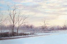 """Jill Poyerd Watercolors - Oil Paintings """"winter sunset"""""""