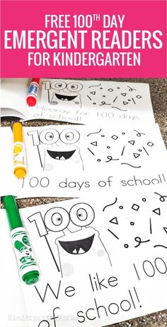 Kinder-Friendly Emergent Readers for the Day of School free printable day of school emergent readers for kindergarten 100 Days Of School Centers, 100th Day Of School Crafts, 100 Day Of School Project, School Projects, School Ideas, Kindergarten Reading, Kindergarten Activities, Kindergarten Goals, Preschool Classroom