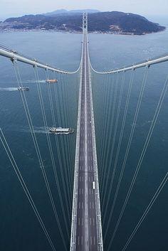 Pearl Bridge - Akashi Kaikyo Bridge, Awaji, Hyogo, Japan...