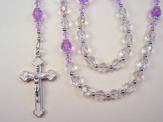 Girls Rosary Catholic First Communion Crystal AB and Violet AB Preciosa Czech Glass Beads Primera Comunión Chica Rosario Free Shipping USA by TheGemBeadLink on Etsy