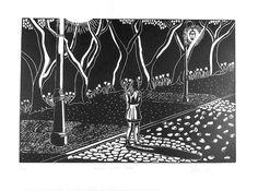 Stroll after dark, woman, dark, night, street, streetlights, black and white, linocut, print, hand-pulled, Ellen Von Wiegand