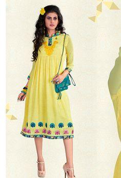 44f69c832db Readymade Light Yellow Georgette Kurti. Stylish KurtisOnline Shopping ...