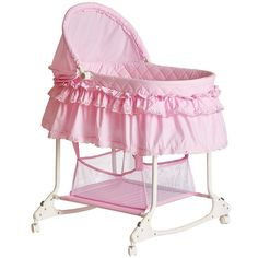 Shop for Dream on Me Willow Pink Plastic Bassinet. Get free delivery On EVERYTHING* Overstock - Your Online Baby Furniture Shop! Baby Glider, Baby Bassinet, Bassinet Ideas, Baby Dolls, Traditional Cribs, 3 Month Old Baby, Large Storage Baskets, Baby Furniture, Urban Furniture