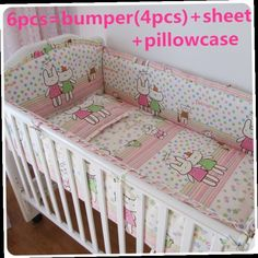 42.80$  Buy here - http://ali7bi.worldwells.pw/go.php?t=32308532665 - Promotion! 6PCS Baby Bedding Set Crib Netting Bumpers Newborn Baby Products (bumper+sheet+pillow cover)