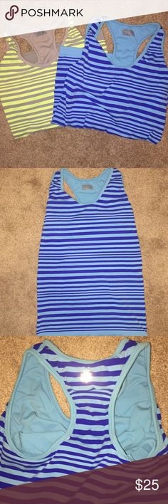 Lot of 2 athleta racer back tanks M Good used condition- smoke free and pet free home- both are same style, different colors (blue/blue & yellow/gray) racerback with built in bra Athleta Tops Tank Tops