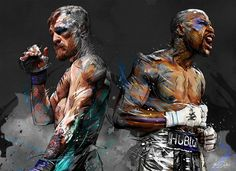 My painting for a big event, the Fight between Floyd Mayweather (Boxing) and Conor MacGregor (MMA) Mcgregor Fight, Connor Mcgregor, Floyd Mayweather Boxing, Mayweather Vs Mcgregor, Combat Boxe, Notorious Conor Mcgregor, Boxing Posters, Ufc Boxing, Mma Fighting