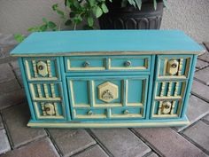 Extra Large Vintage Turquoise And Yellow Solid Wood Jewelry Box