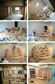 Creative Bookcase Bedroom in Japan