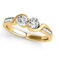 Diamond Accented Twised Two Stone Ring 14k Yellow Gold (1.13ct), Women's, Size: 10.75 #gold14k