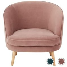 Gertie Accent Chair, Vintage Pink Velvet from Made.com. NEW Everything about this collection says 'inviting'. The curved shape. The plump cushions. .. Blue Gray Bedroom, Gold Bedroom, Marble Bedroom, Grey Room, Bedroom Inspo, Bedroom Inspiration, Master Bedroom, Vintage Room, Vintage Pink