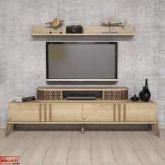 Comoda Tv Eylul cu Raft - Stejar White Tv, Tv Unit, Timeless Design, Studio, Living Spaces, Entertaining, Contemporary, Furniture, Home