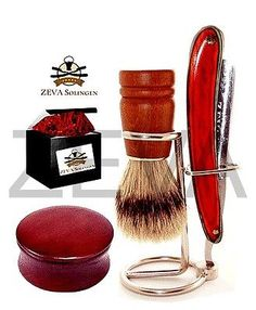 Men's Wooden 5 Pc Barber Straight Razor Stand Bowl Soap Brush Shaving Kit / Set