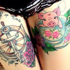 #teacuppig #tattoo #thightattoo #teacuptattoo #lightbearertattoo