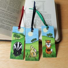 Animal Bookmarks Pack of 3 Mini Animal Bookmarks by RieDesigned